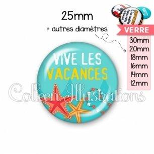 Cabochon en verre Vive les vacances (069BLE01)