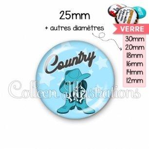 Cabochon en verre Danse country (071BLE01)