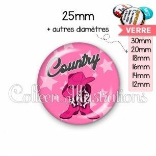 Cabochon en verre Danse country (071ROS01)
