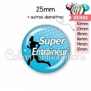 Cabochon en verre Super entraineur (082BLE01)