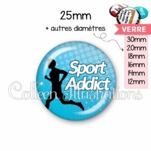 Cabochon en verre Sport addict (082BLE01)