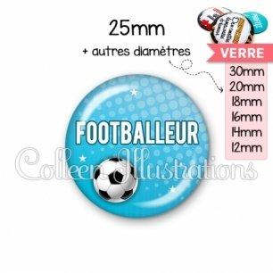 Cabochon en verre Footballeur (082BLE02)