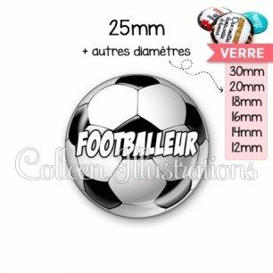 Cabochon en verre Footballeur (089MUL01)