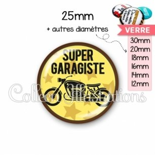 Cabochon en verre Super garagiste (100JAU01)