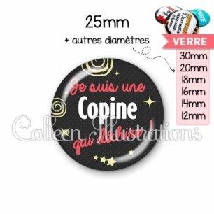 Cabochon en verre Copine qui déchire (125NOI01)