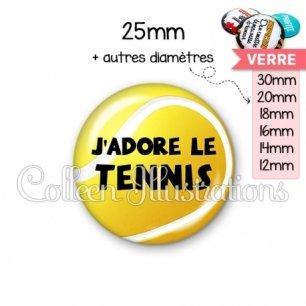 Cabochon en verre J'adore le tennis (130JAU01)