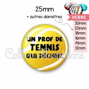 Cabochon en verre Prof de tennis qui déchire (130JAU01)