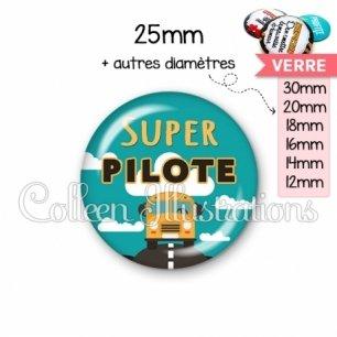 Cabochon en verre Super pilote (136VER01)