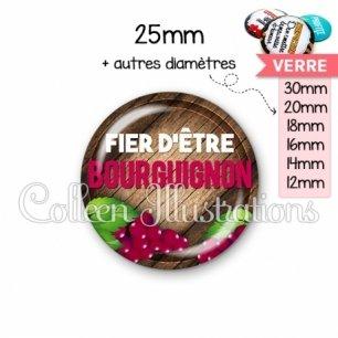 Cabochon en verre Fier d'être bourguignon (137MAR03)