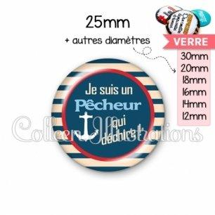 Cabochon en verre Pêcheur qui déchire (146BLE01)