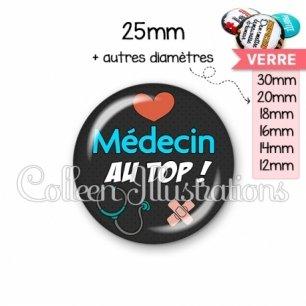 Cabochon en verre Médecin au top (155NOI01)