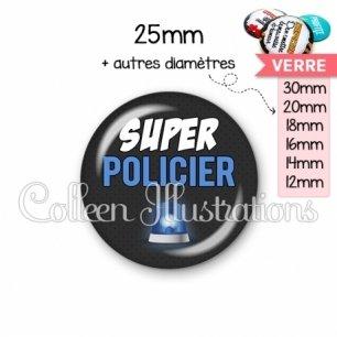Cabochon en verre Super policier (162GRI01)