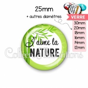 Cabochon en verre J'aime la nature (165VER01)