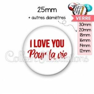 Cabochon en verre I love you pour la vie (181BLA02)