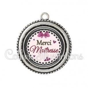 Pendentif résine Merci maîtresse (005VIO01)